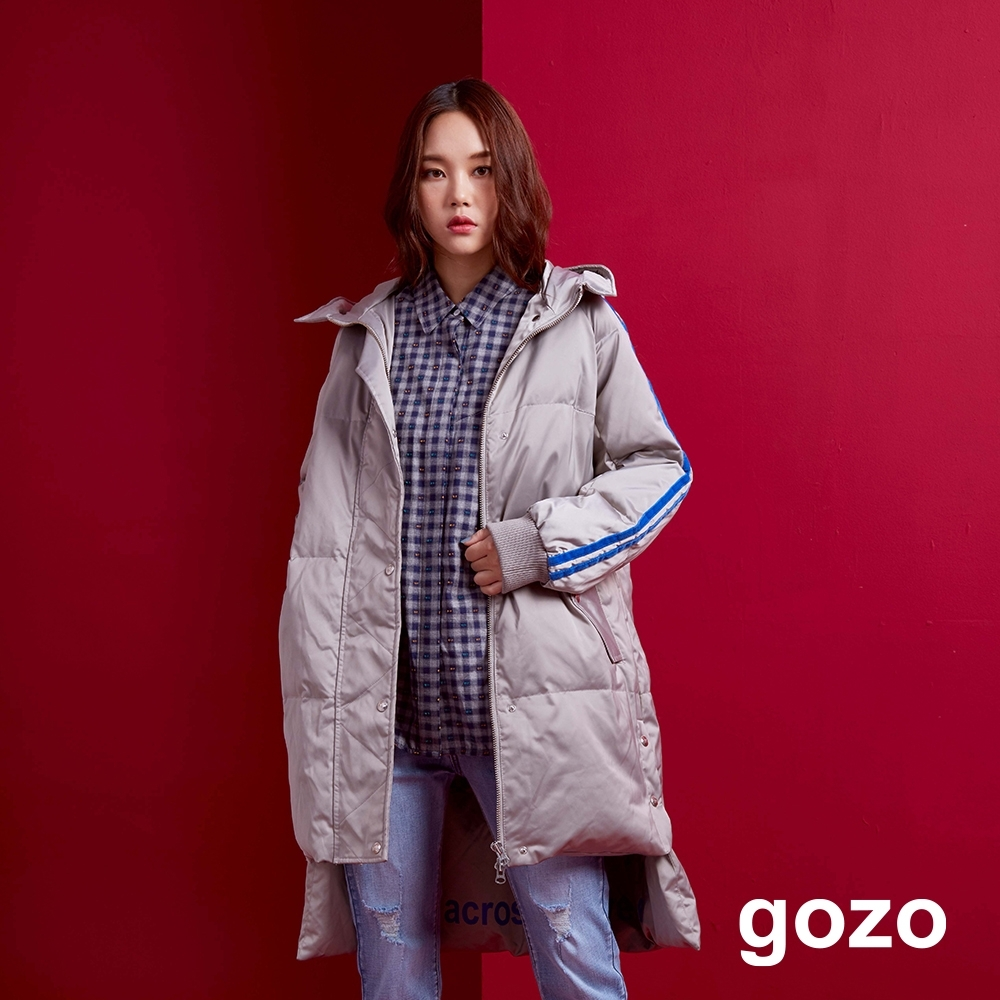 gozo 90%白鴨絨運動風長版連帽羽絨外套(二色) product image 1
