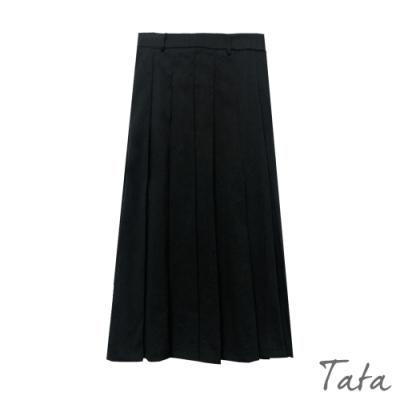 寬百褶素色長裙 共二色 TATA-(S~L)