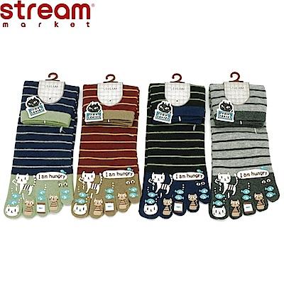 日本STREAM臭臉貓咪橫條紋五指襪(隨機出貨)EE56112