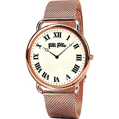 Folli Follie PERFECT 羅馬米蘭帶石英手錶-玫塊金/40mm