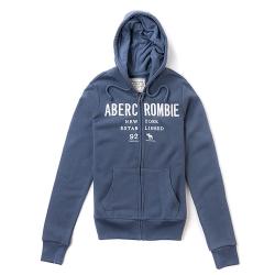 A&F 經典品牌刺繡連帽外套(女/藍-S)