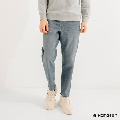 Hang Ten男裝-RELAXED FIT寬鬆鬆緊靛藍丹寧褲(淺灰)