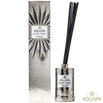 美國香氛VOLUSPA 華麗年代系列 金黃菸草 浮雕玻璃罐室內擴香192ml
