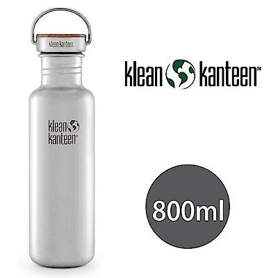 【美國Klean Kanteen】竹片鋼蓋不鏽鋼瓶800ml-原色鋼(霧面)