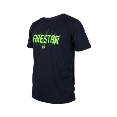 FIRESTAR 男吸排圓領短袖-短T T恤 路跑 慢跑 深藍螢光綠