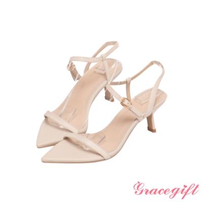 Grace gift X Annie-聯名真皮一字繫踝中跟涼鞋 米白
