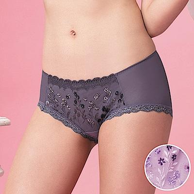 莎薇-花說粉水M-LL 低腰平口內褲(夢幻紫)刺繡蕾絲