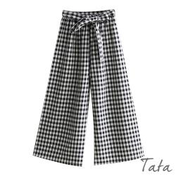 綁帶黑白格紋寬褲 TATA