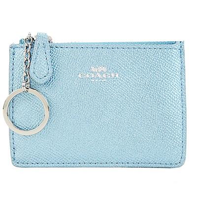 COACH 馬車珠光防刮皮革後卡夾鑰匙零錢包(珠光水藍)