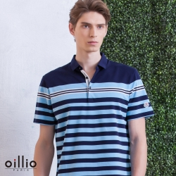 oillio歐洲貴族 短袖透氣POLO衫 吸濕排汗織法 藍色