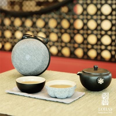 陸寶LOHASPottery 知足常樂旅行組 禪風黑 撞色兩杯 旅行茶具 享受愜意生活