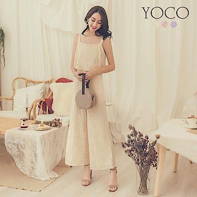 東京著衣-yoco 法式浪漫多色滿版蕾絲連身寬褲-S.M.L(共三色)