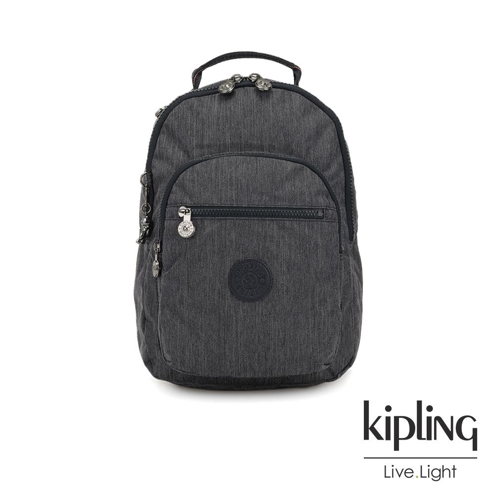 Kipling 未來感極簡風深灰丹寧機能手提後背包-CLAS SEOUL S