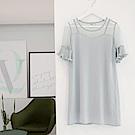 拼接鏤空點點網紗領設計綴百褶袖細皺洋裝.2色-OB嚴選