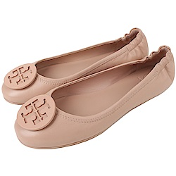TORY BURCH 經典LOGO鬆緊平底娃娃鞋(粉膚色)