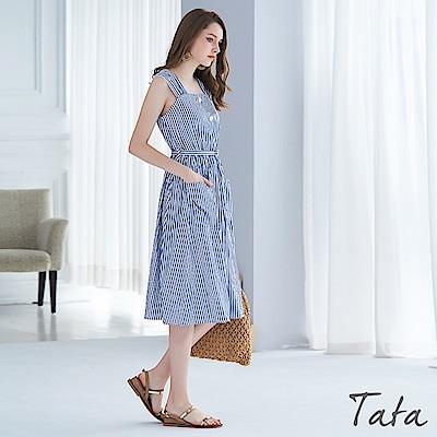 簡約氣質條紋吊帶洋裝TATA(配腰帶)