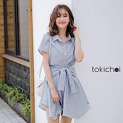 東京著衣  青春洋溢下擺不規則設計前綁結洋裝-S.M.L
