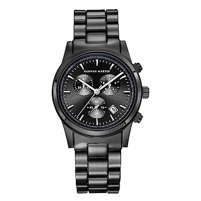 HANNAH MARTIN  黑色豪門企業裝飾三眼不鏽鋼腕錶(HM-1039-H)黑x38