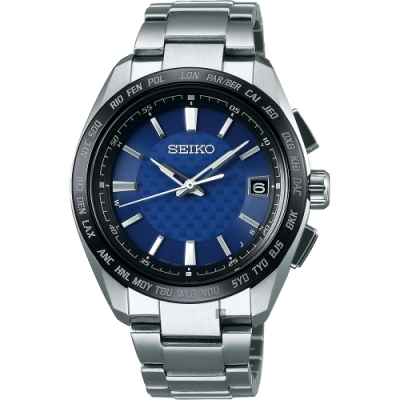 SEIKO BRIGHTZ 鈦金屬太陽能電波腕錶-藍/40mm