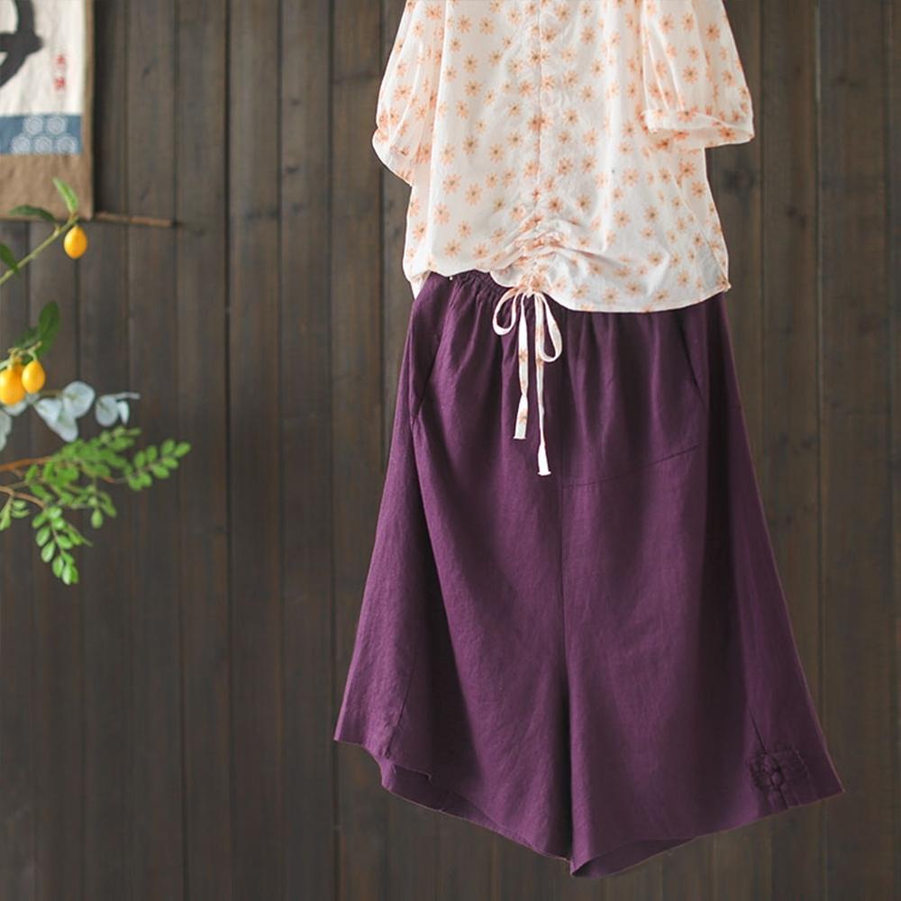 復古盤扣短褲顯瘦百搭五分褲子三色-設計所在