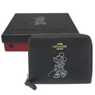 COACH DISNEY聯名 MINNIE 米妮牛皮拉鍊短夾-黑色(附原廠禮盒)
