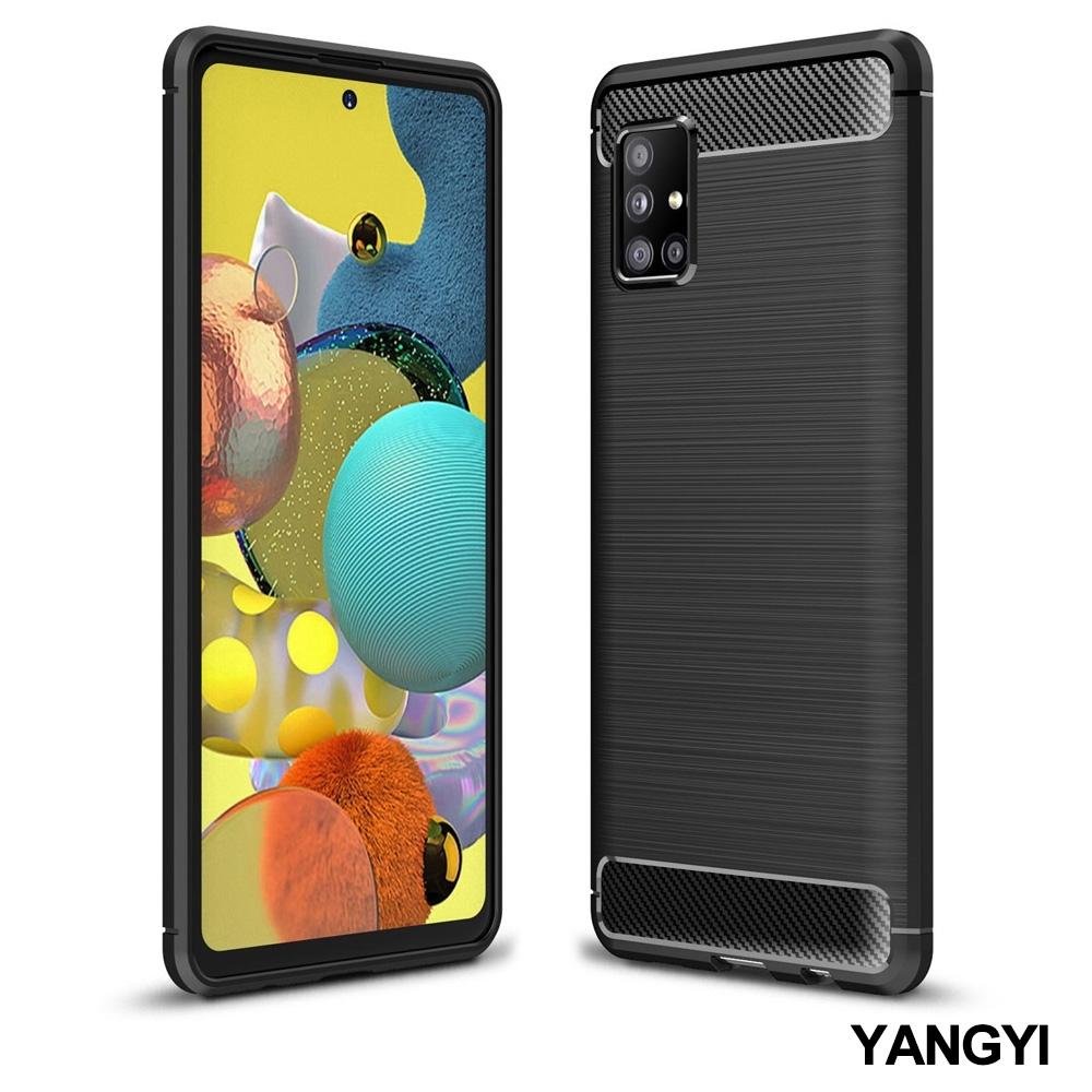 揚邑 SAMSUNG Galaxy A51 5G 碳纖維拉絲紋軟殼散熱防震抗摔手機殼-黑