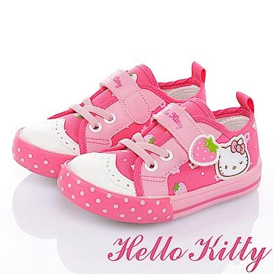 (雙11)HelloKitty 草莓系列 花漾減壓休閒帆布童鞋-桃