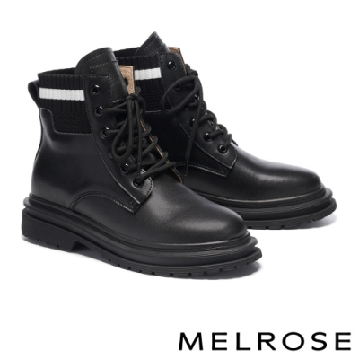 短靴 MELROSE 街頭潮流羅紋針織拼接綁帶短靴-黑
