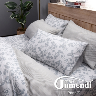 Jumendi喬曼帝 200織精梳棉-特大全鋪棉床包組-花花世界