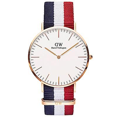 DW手錶 官方旗艦店 40mm玫瑰金框 Classic 經典藍紅尼龍帆布手錶