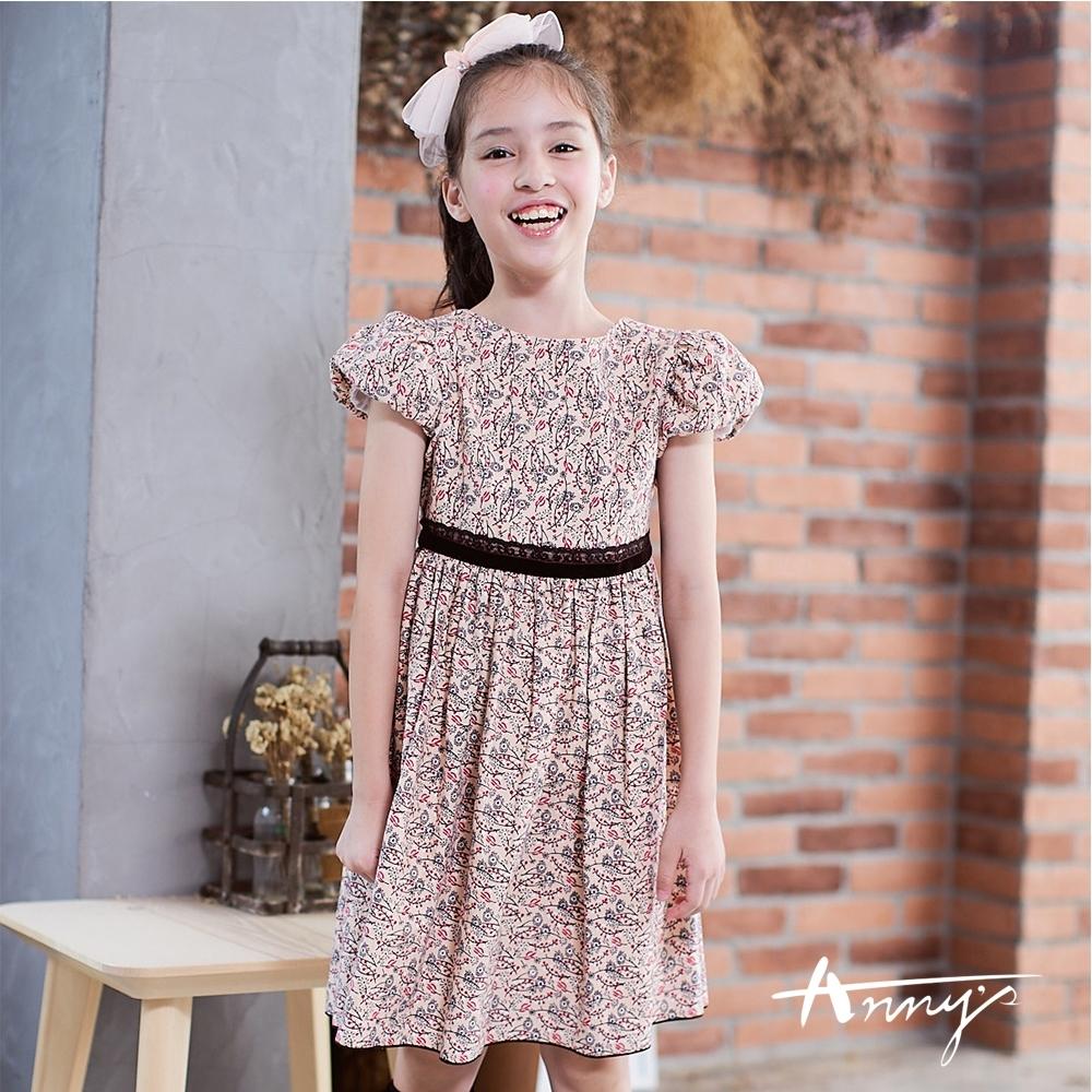 Annys安妮公主小清新風格碎花蕾絲公主袖綁帶洋裝9239卡其