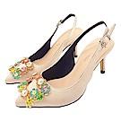 Cinderella Fashions 小尺碼方形鑽飾緞面後勾跟中跟鞋-杏色
