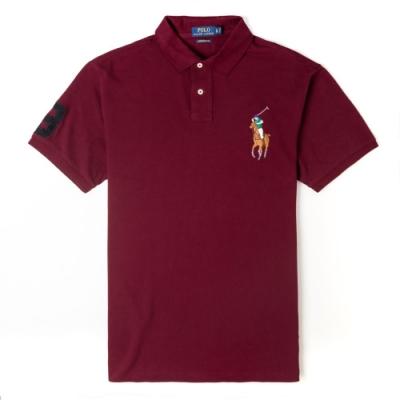 Polo Ralph Lauren 年度熱銷刺繡彩大馬短袖POLO衫(CUSTOM SLIM)-酒紅