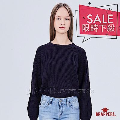 BRAPPERS 女款 袖交叉鏤空長袖毛衣-深藍