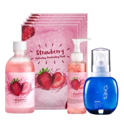 【歐恩伊】美莓休眠四件組-草莓保濕化妝水+草莓潔面膠+草莓面膜+(即期品)抗乾晚安凍膜