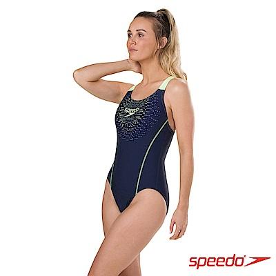 SPEEDO 女 運動連身泳裝 Gala Logo Medalist 海軍藍/檸黃
