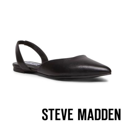 STEVE MADDEN-FREY 簡約低調 後跟帶包趾平底涼鞋-黑色