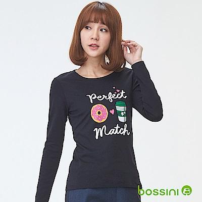 bossini女裝-印花長袖T恤05黑