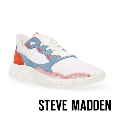STEVE MADDEN-RAMP 拚色透氣增高運動休閒女鞋-白色