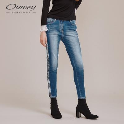 OUWEY歐薇 民俗風彈性刺繡牛仔褲(藍)