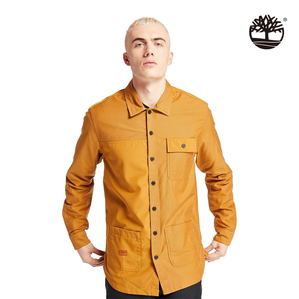 Timberland 男款小麥黃個性多格口袋襯衫|A2BD7