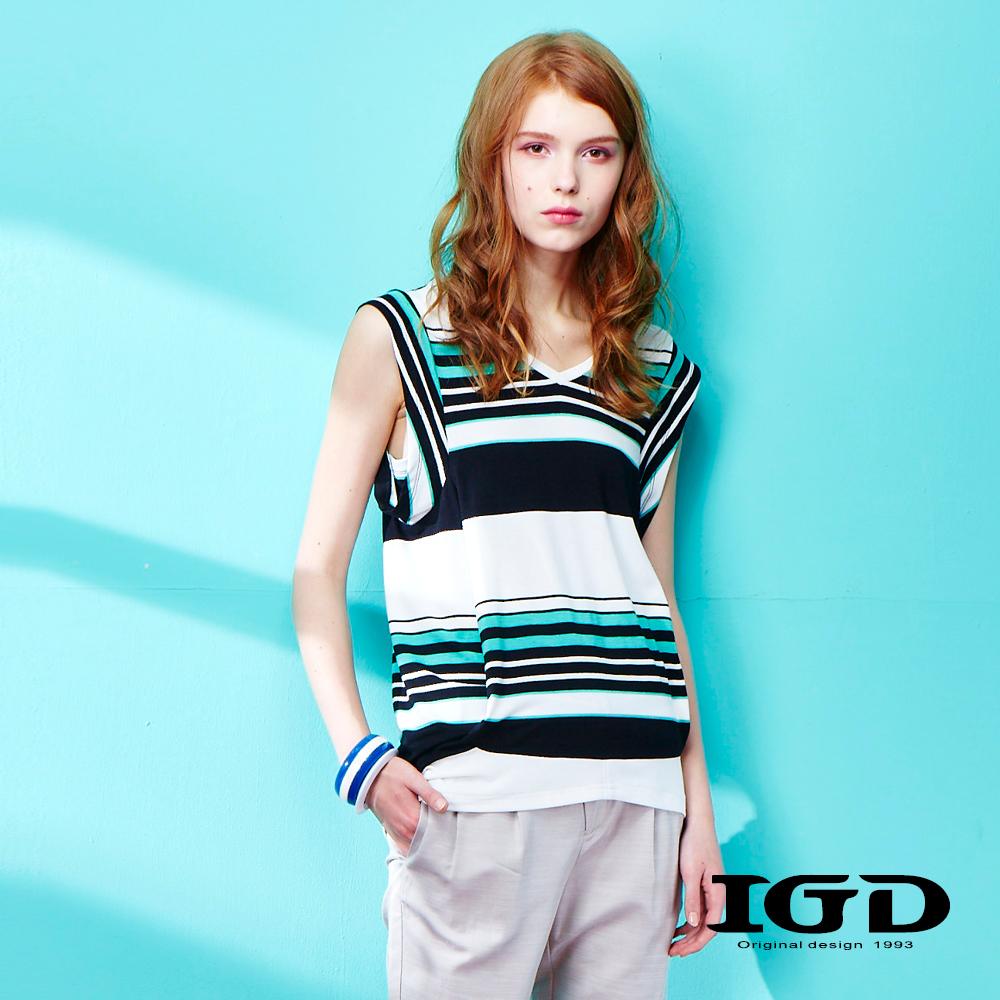 IGD英格麗 撞色條紋V領背心-綠色