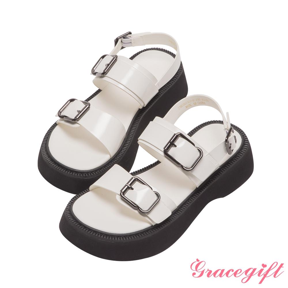 Grace gift-雙帶方釦厚底涼鞋 米漆