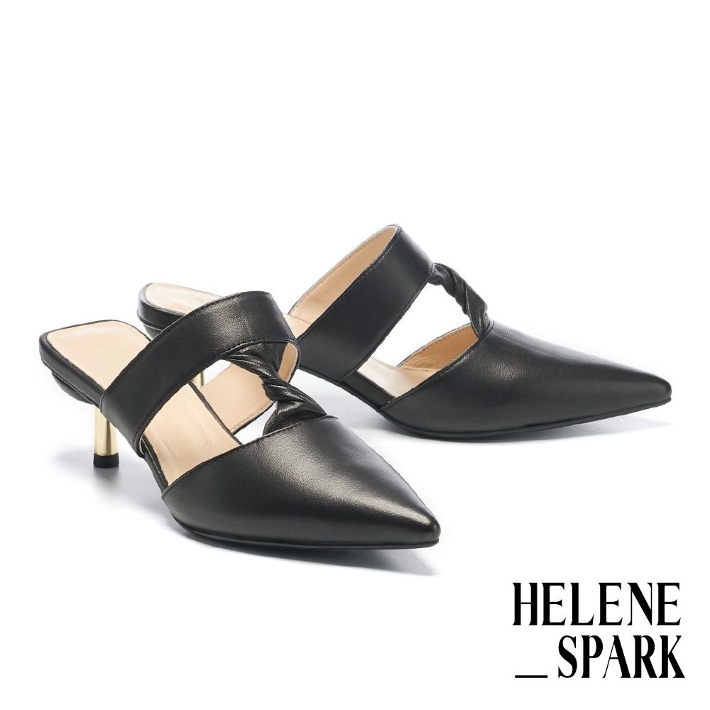 穆勒鞋 HELENE SPARK 時髦簡約純色扭結簍空羊皮尖頭高跟穆勒拖鞋-黑
