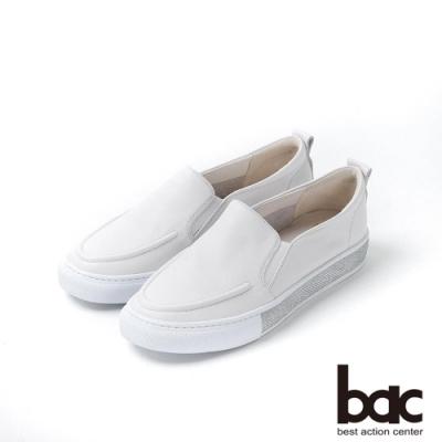 bac週末輕旅行 - 簡約雅致亮眼排鑽休閒平底鞋-白