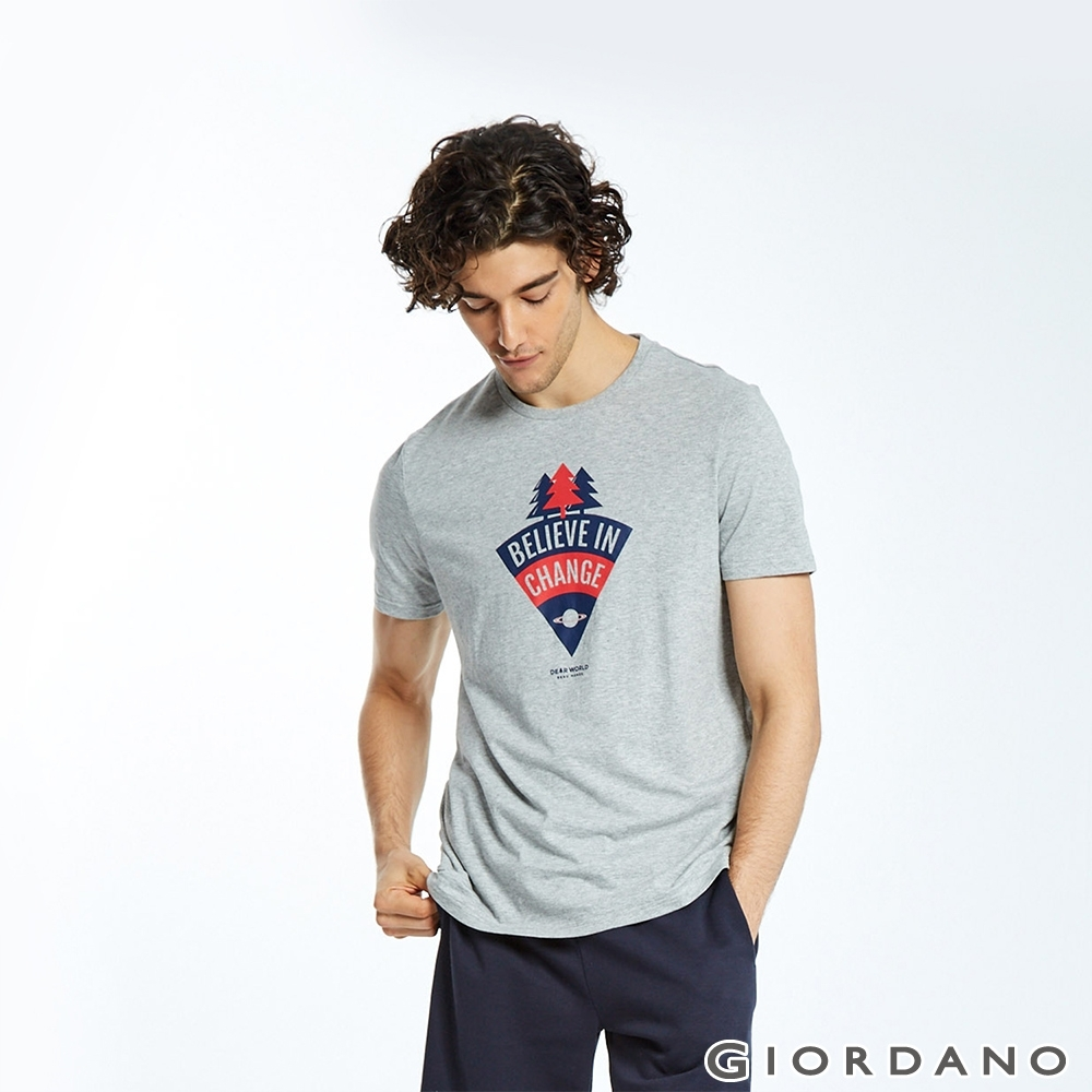 GIORDANO 男裝DEAR WORLD系列印花T恤-62 中花灰
