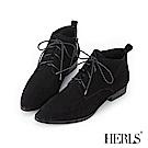 HERLS 個性復古 全真皮綁帶麂皮低跟短靴-黑色