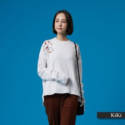 【KiKi】早春刺繡圖騰-針織衫(二色)