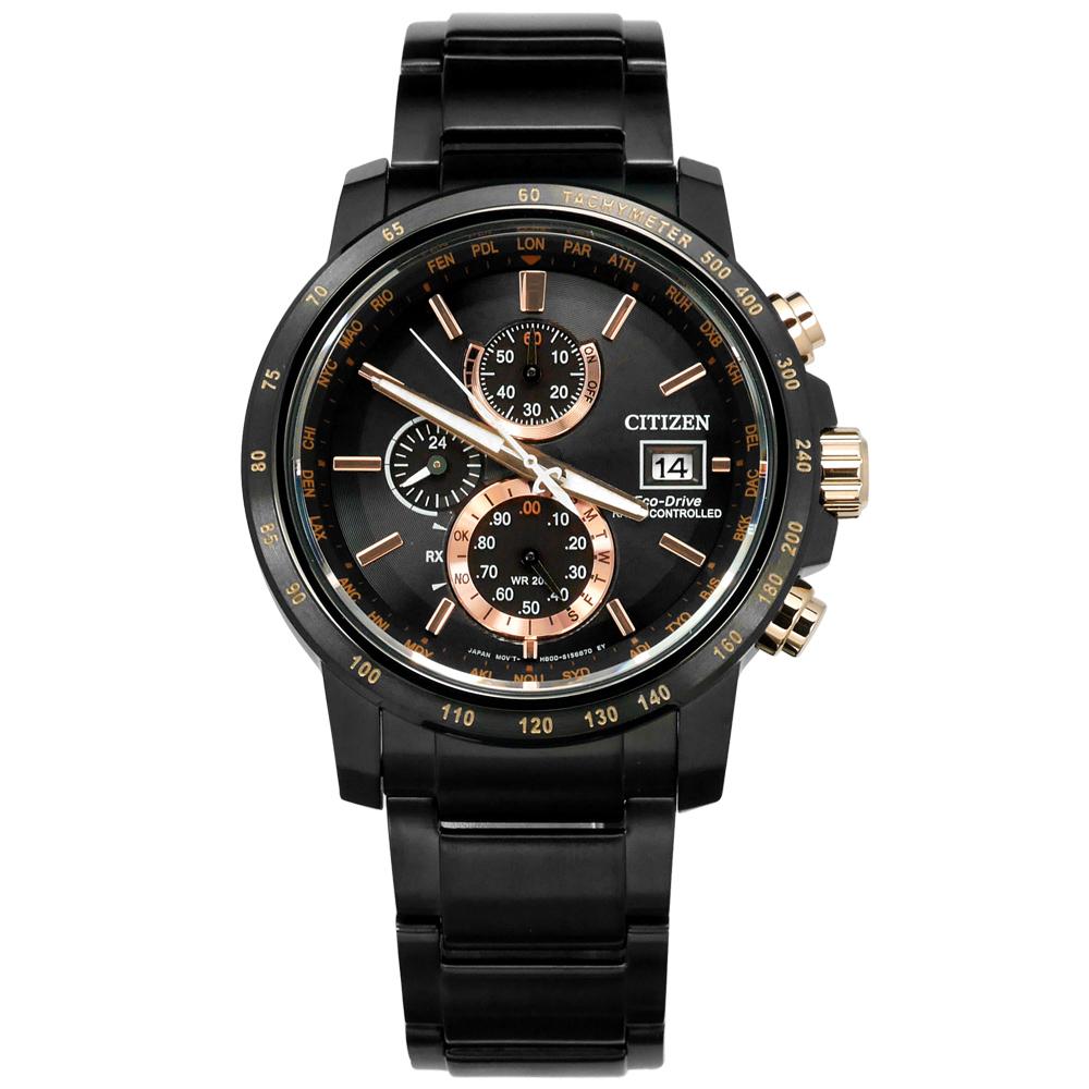 CITIZEN 星辰表 光動能電波萬年曆藍寶石水晶不鏽鋼手錶-玫瑰金x鍍黑/43mm