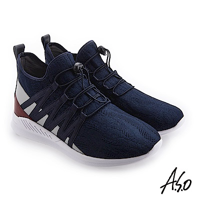 A.S.O 活力雙核心 方便穿脫舒適休閒鞋 深藍